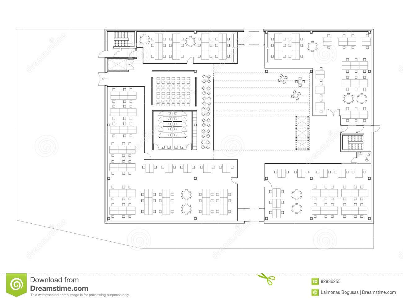 floor plan of the office. Floor Plan Of The Office Building. Modern, Space.