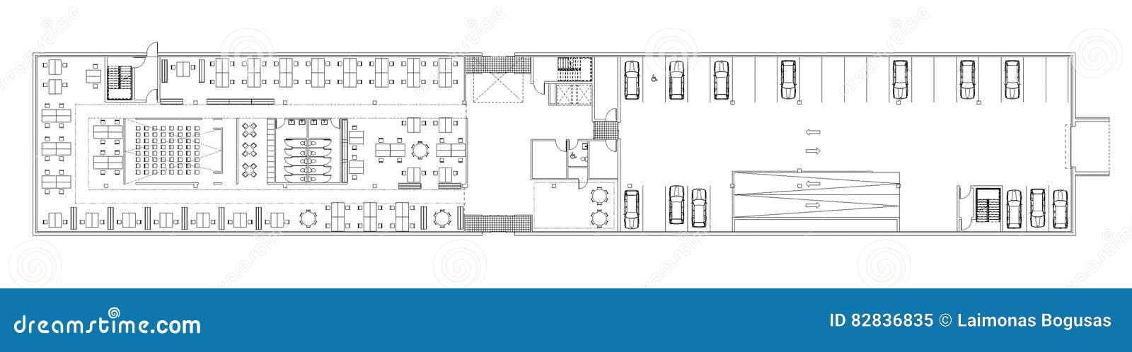 Floor Plan Of The Office Building Stock Illustration Illustration Of Architecture Architectural 82836835