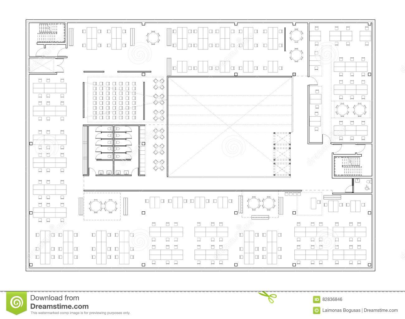 Floor plan of the office building royalty free stock photo for Floor plan builder free