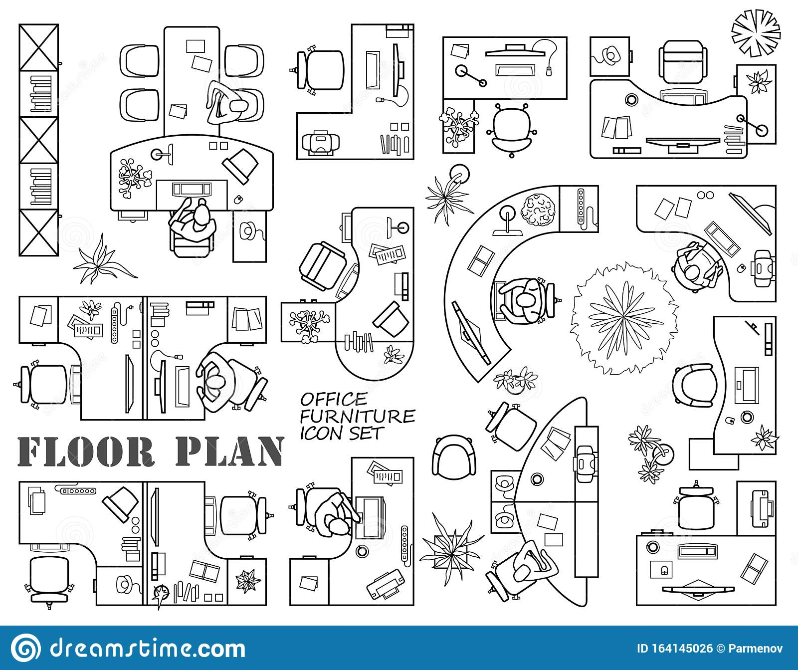 Floor Plan Of Office Or Cabinet In Top View Modular System Of Office Equipment Furniture Icons In View From Above Vector Stock Vector Illustration Of Layout Modular 164145026