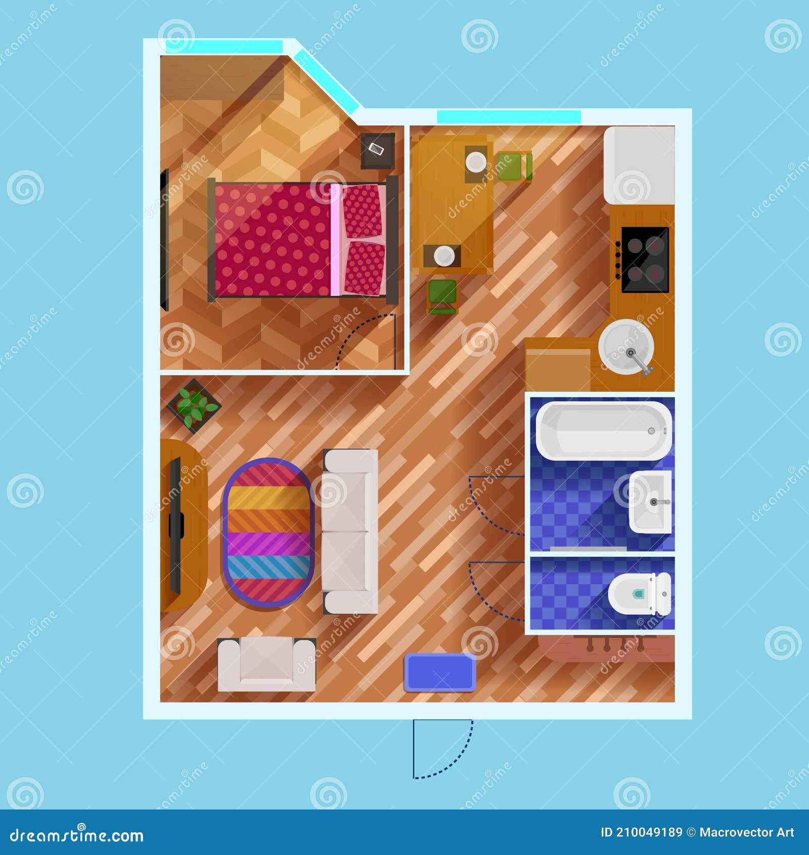Floor Plan Of One Bedroom Apartment Stock Vector Illustration Of Furniture Decorative 210049189