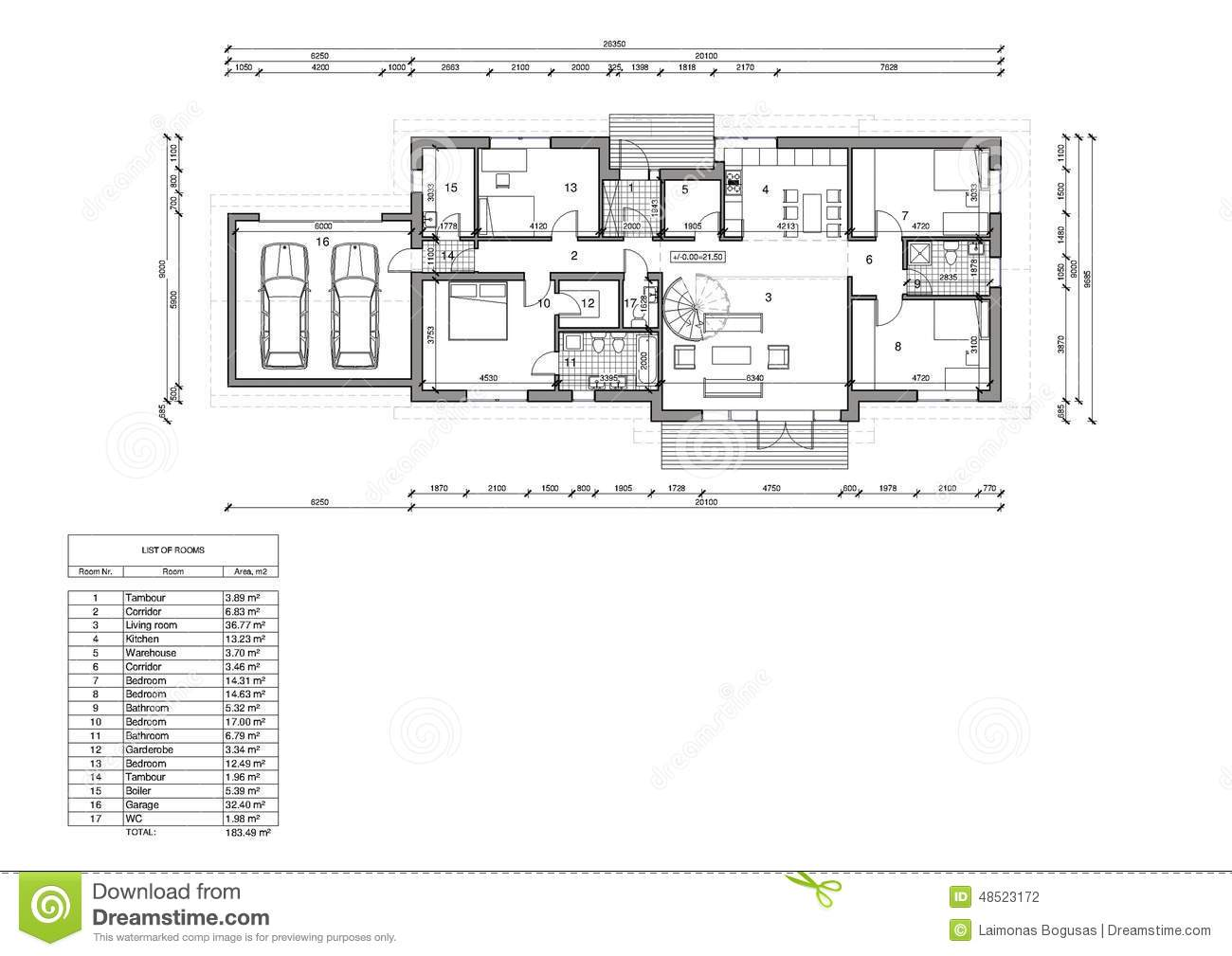 Floor plan of the single family house stock illustration for Single family house plans