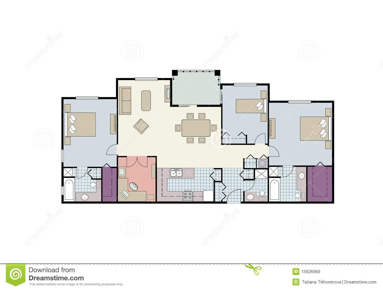 Floor plan of three bedroom condo with furniture royalty for Condo blueprints