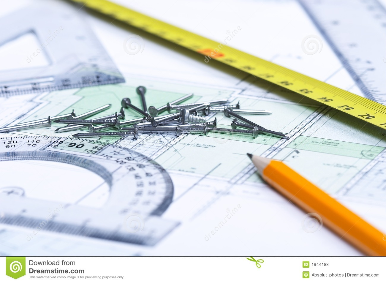Floor Plan And Tools Royalty Free Stock Photos Image