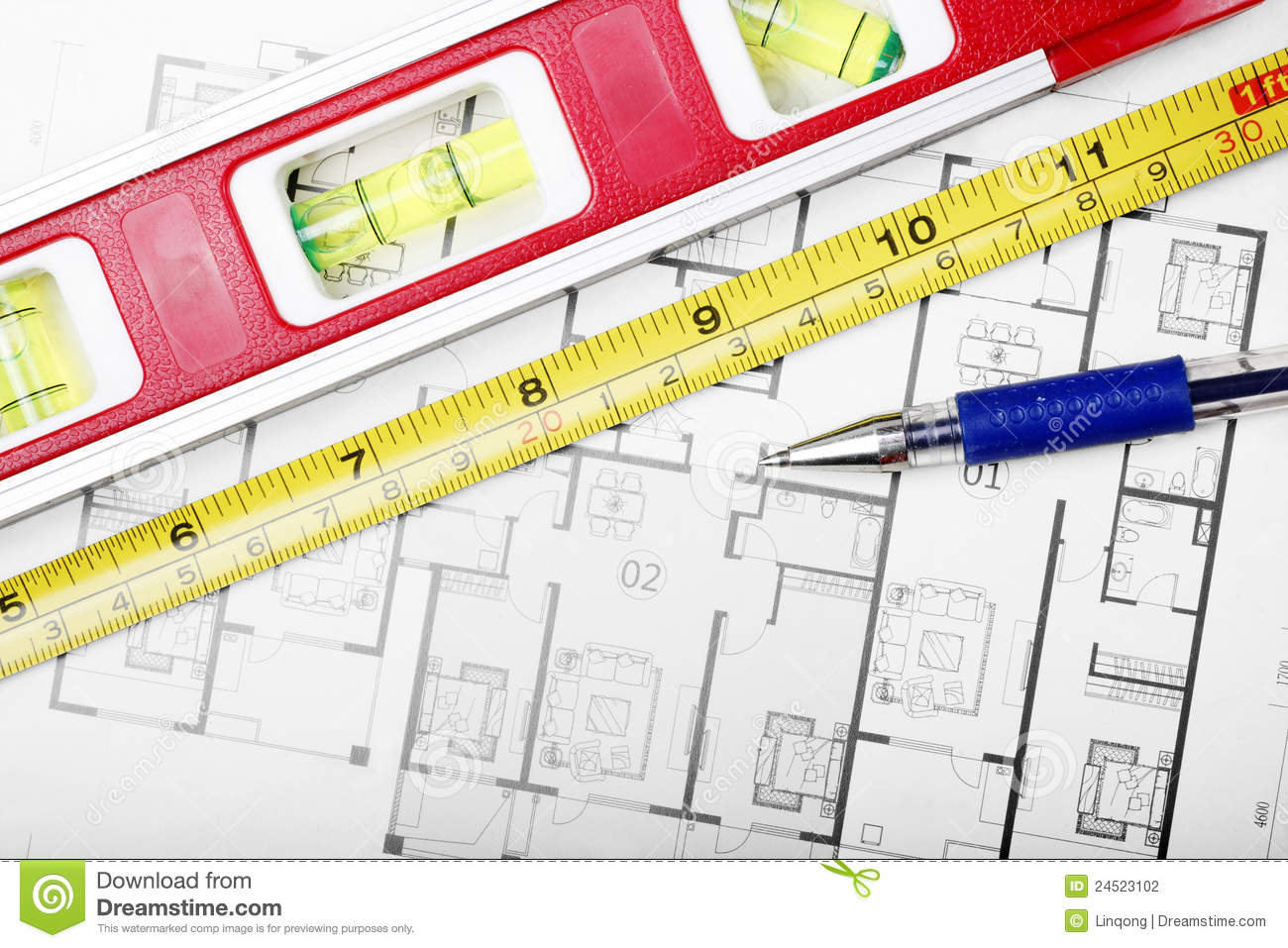Floor Plan And Tools Stock Photography Image 24523102