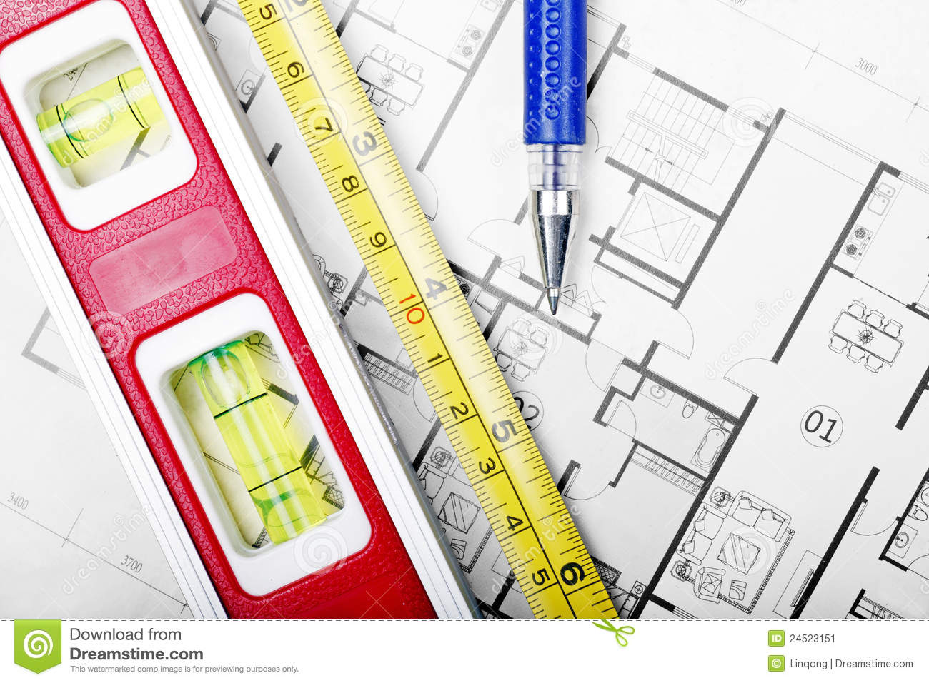 Floor Plan And Tools Stock Image Image 24523151