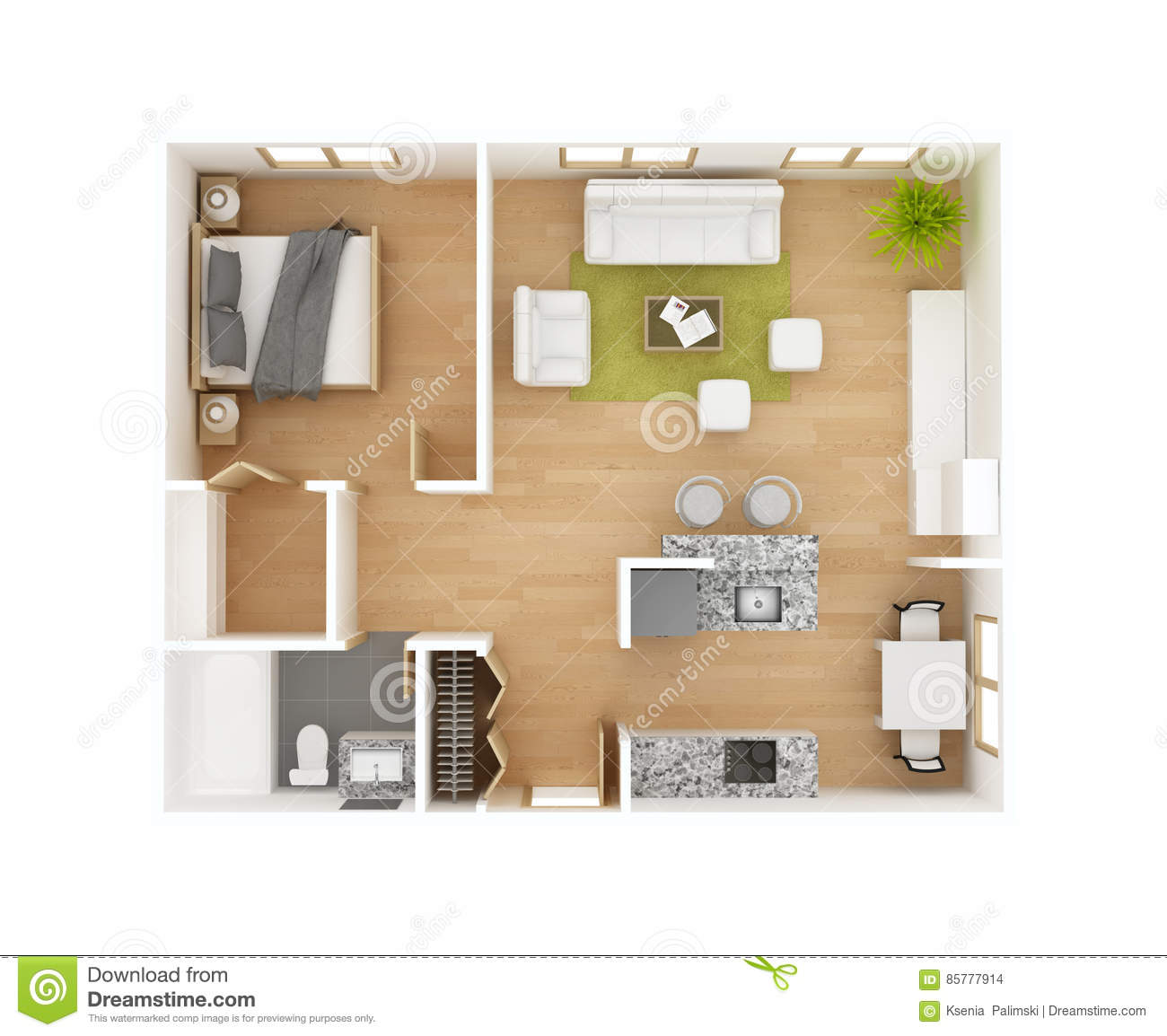 Best 3d Kitchen Design Software Free Download: Top View Royalty-Free Stock Photo