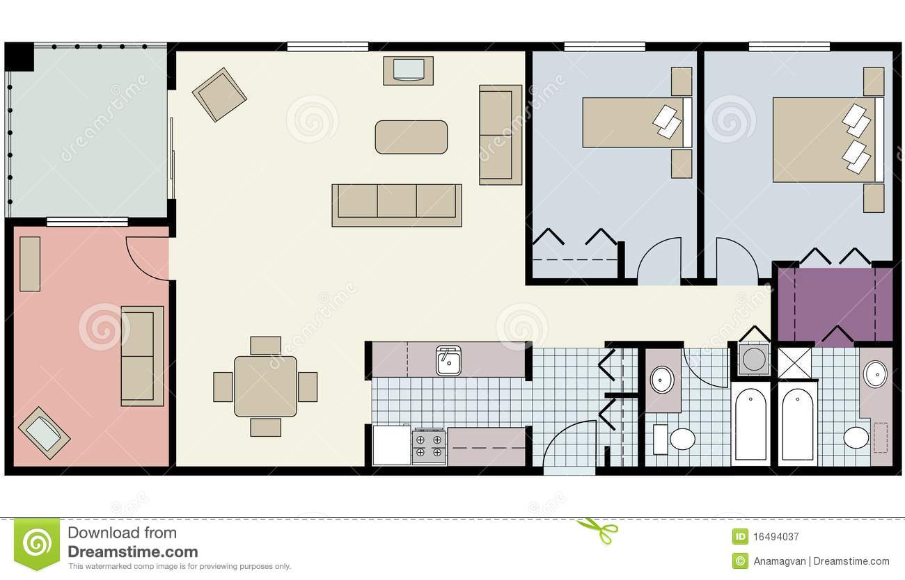 Floor plan of two bed condo with den furniture stock - Architectural plan of two bedroom flat with dining room ...
