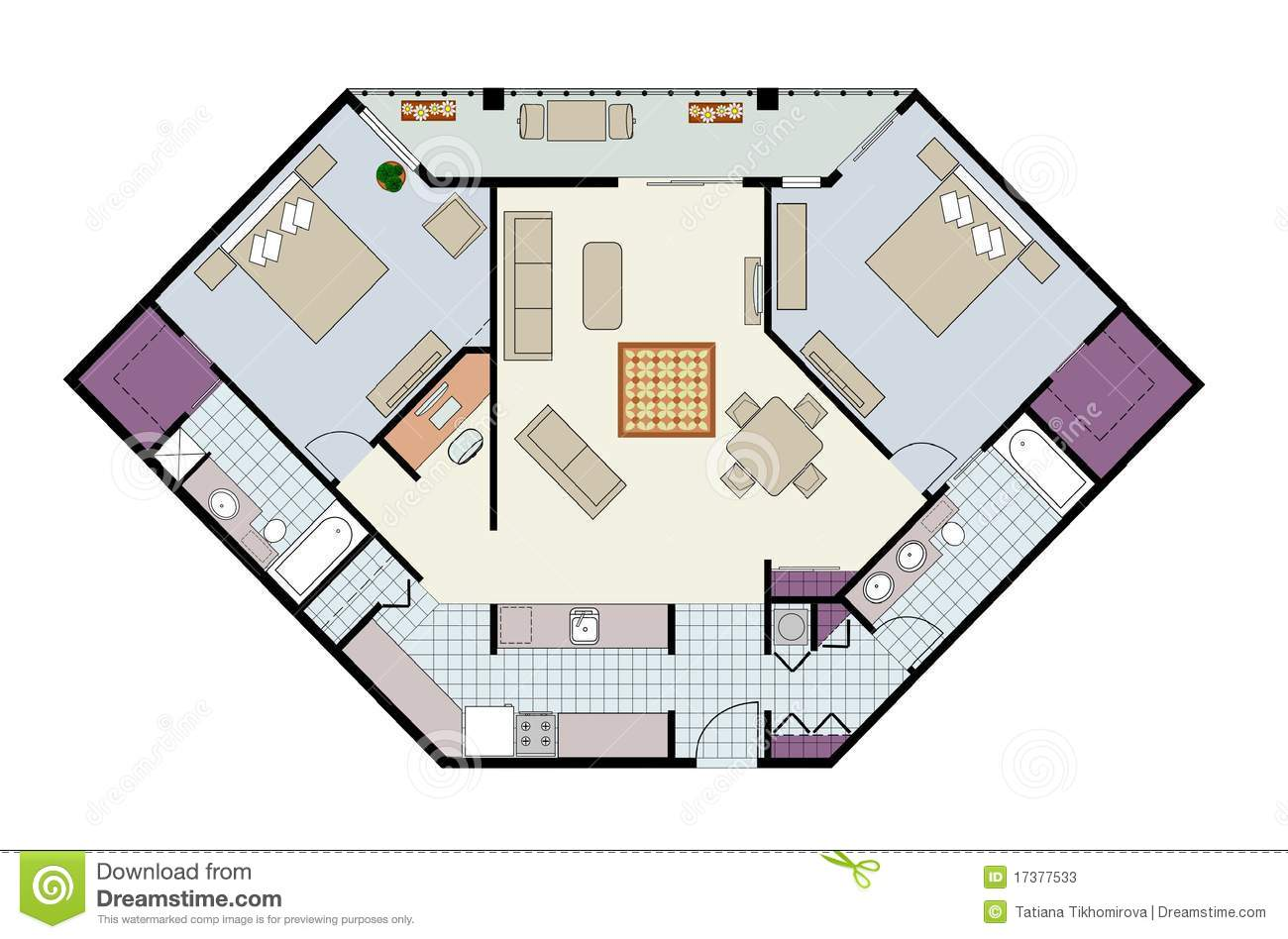floor plan of two bed condo with den furniture royalty free stock