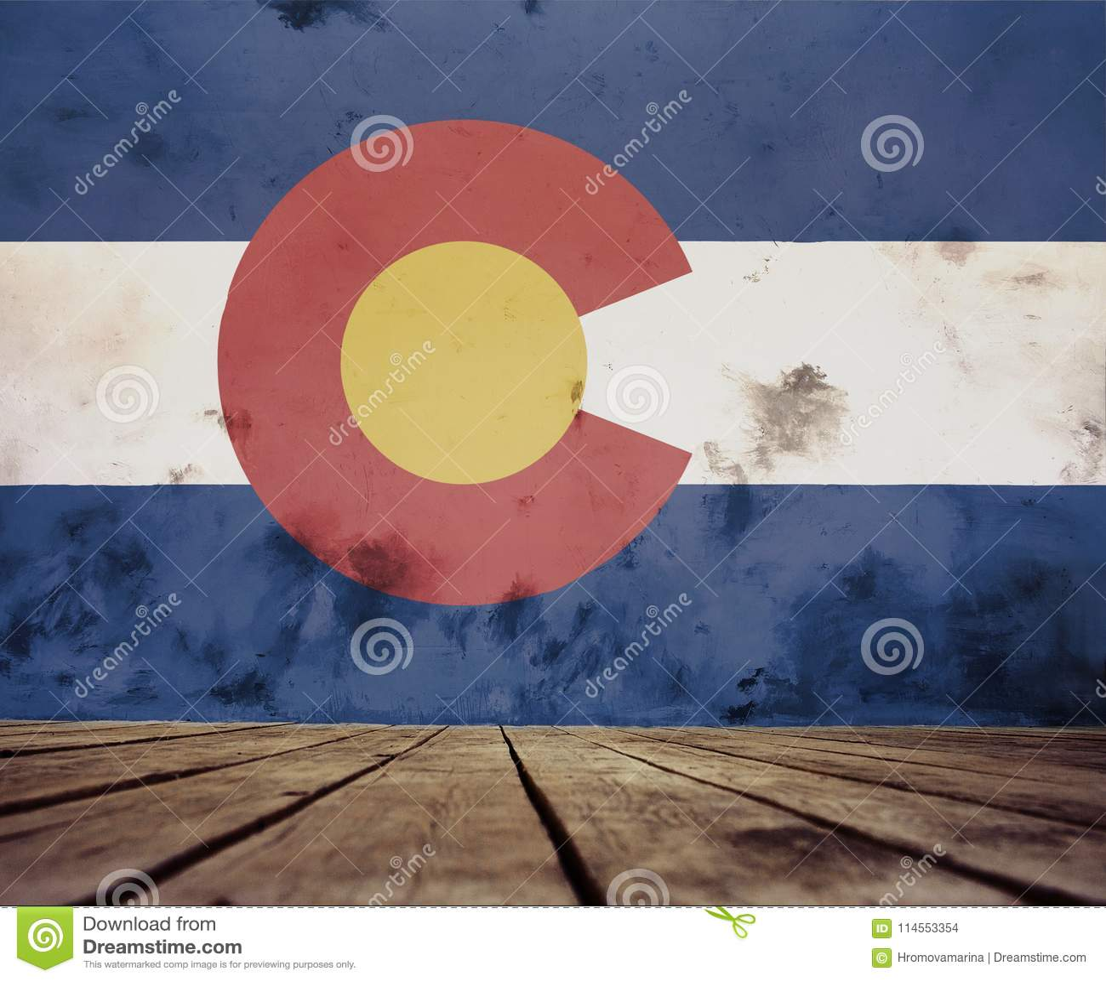 A painted Colorado flag.
