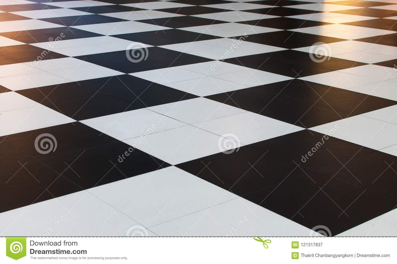 Big Black And White Checkered Pattern Tiles Stock Image