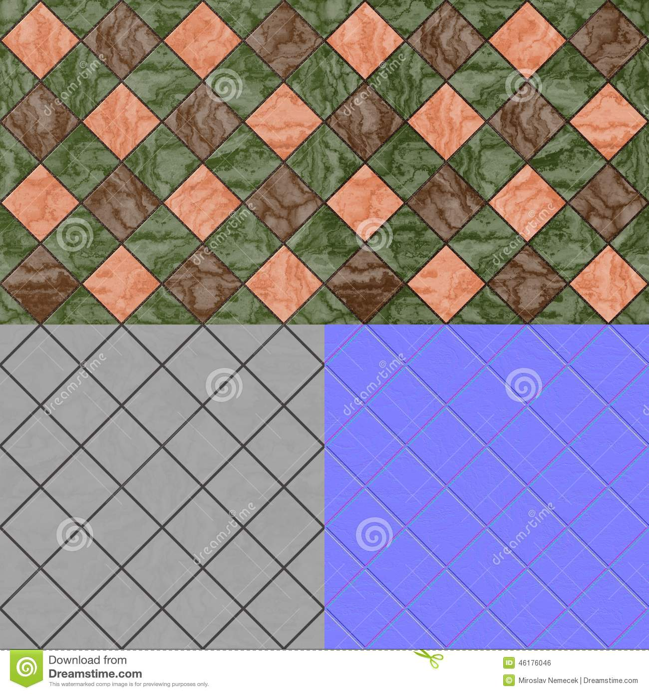 Floor tiles seamless generated texture diffuse bump for Floor normal map