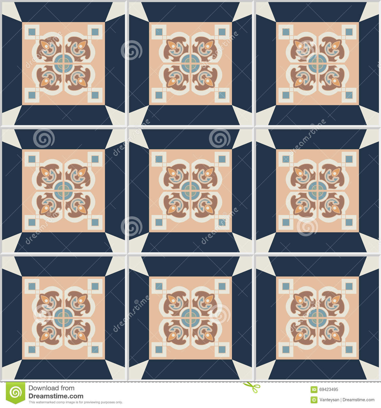 Floor Tiles - Seamless Vintage Pattern With Cement Tiles. Vector ...
