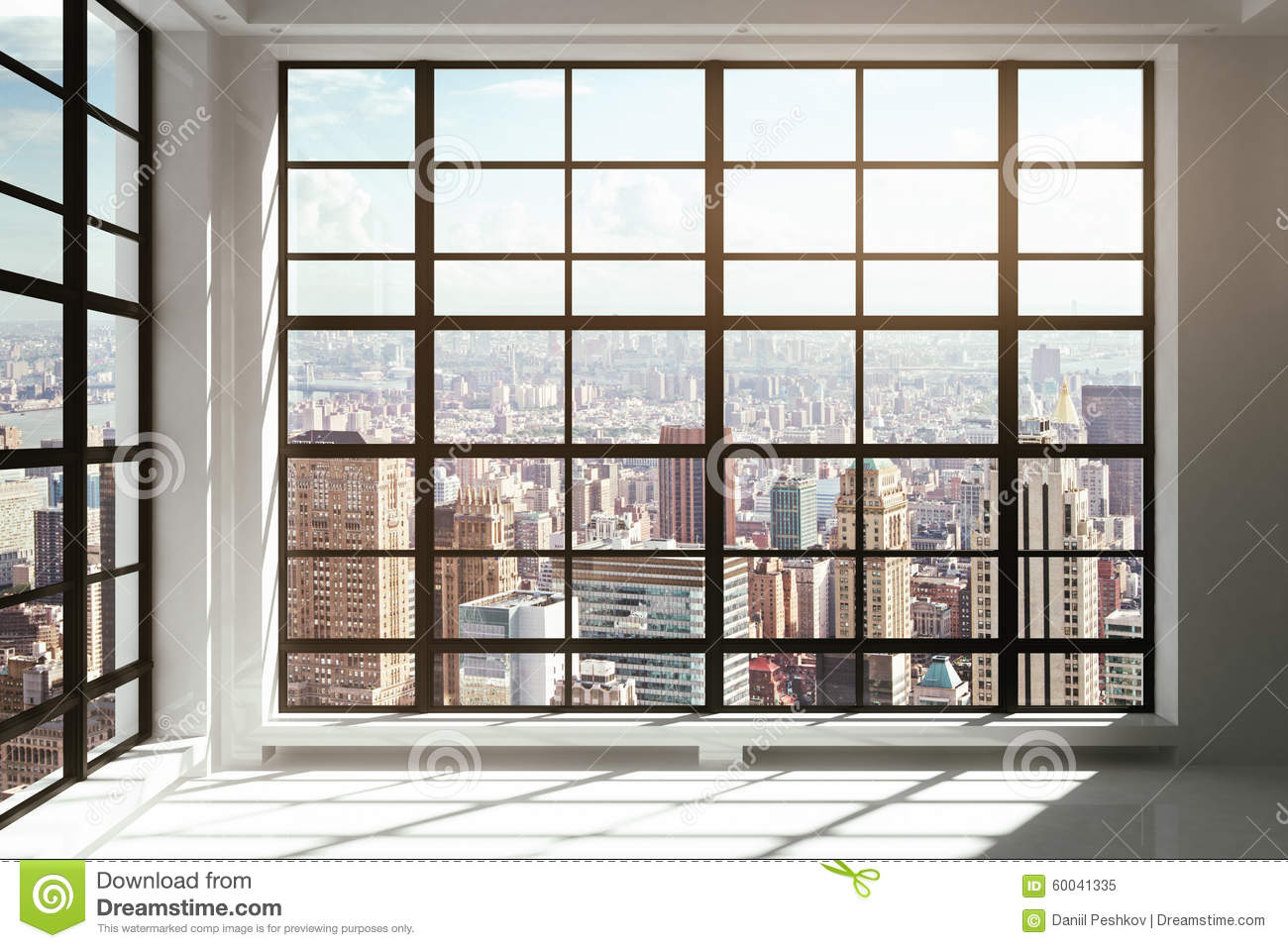 Floor to ceiling windows with city view stock photo Ceiling window
