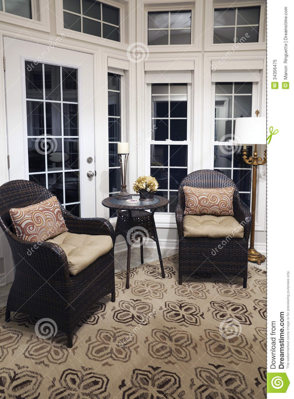 wicker furniture for sunroom. Floor To Ceiling Windows In Sunroom Stock Image - Of Contemporary, Furnishings: 34356475 Wicker Furniture For