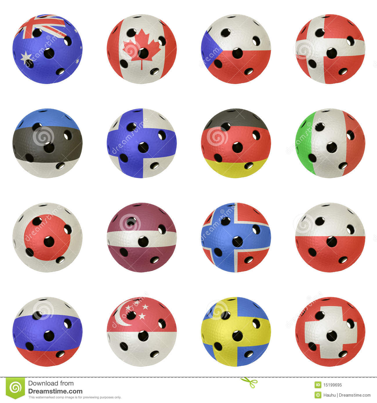 Floorballs with the flags of all countries participating in the 2010 ...
