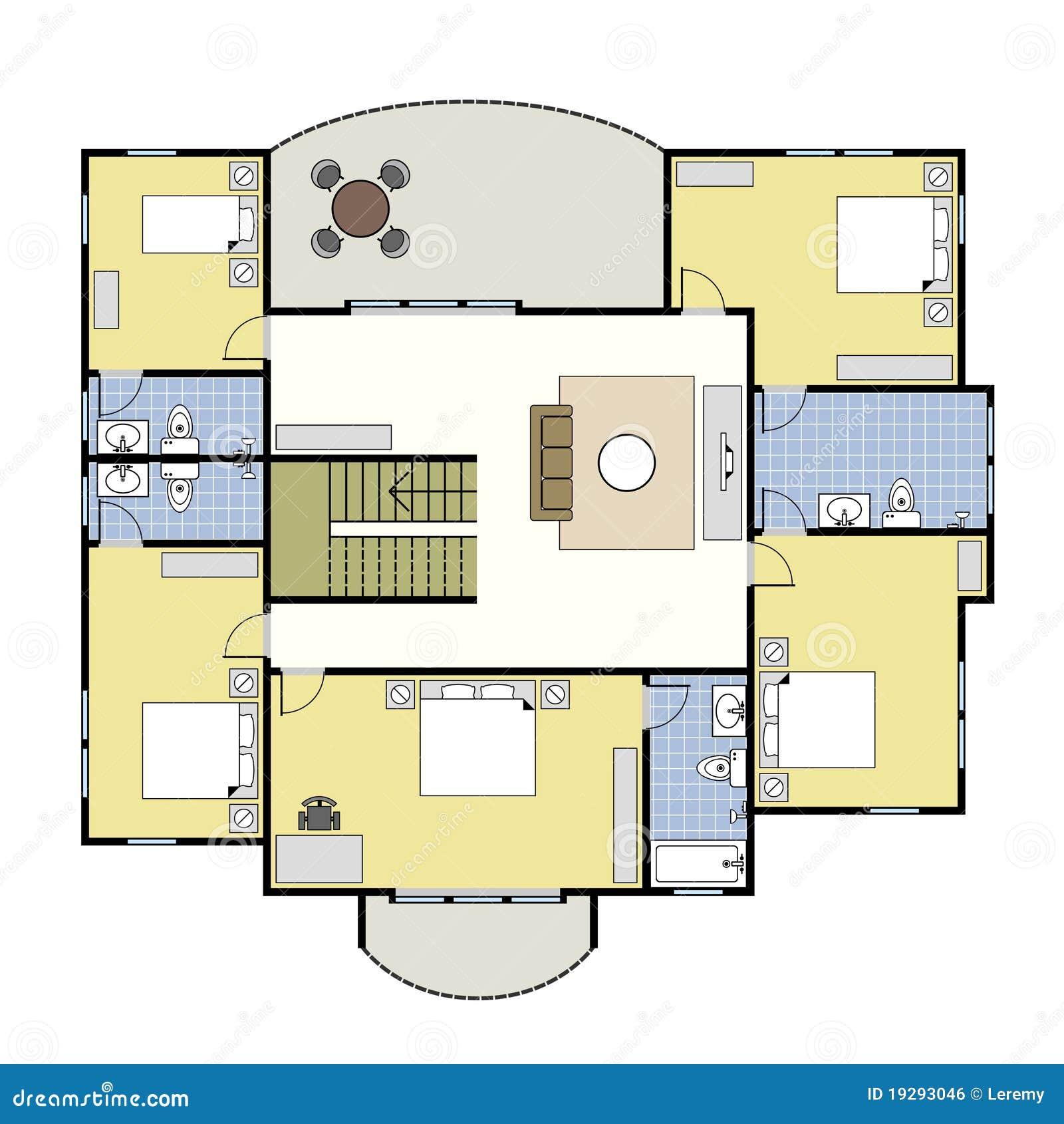 Floorplan Architecture Plan House Stock Vector