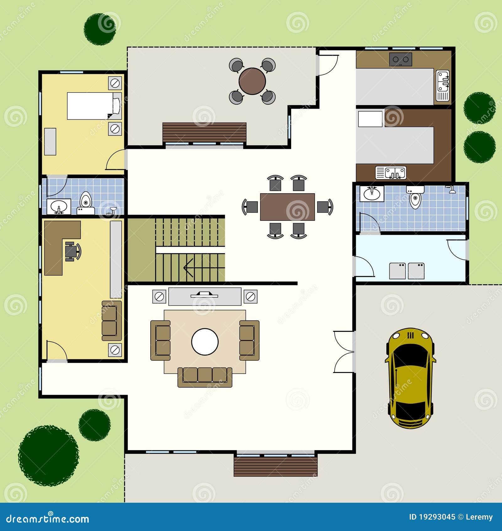 Floorplan Architektur Plan Haus Vektor Abbildung Illustration Von