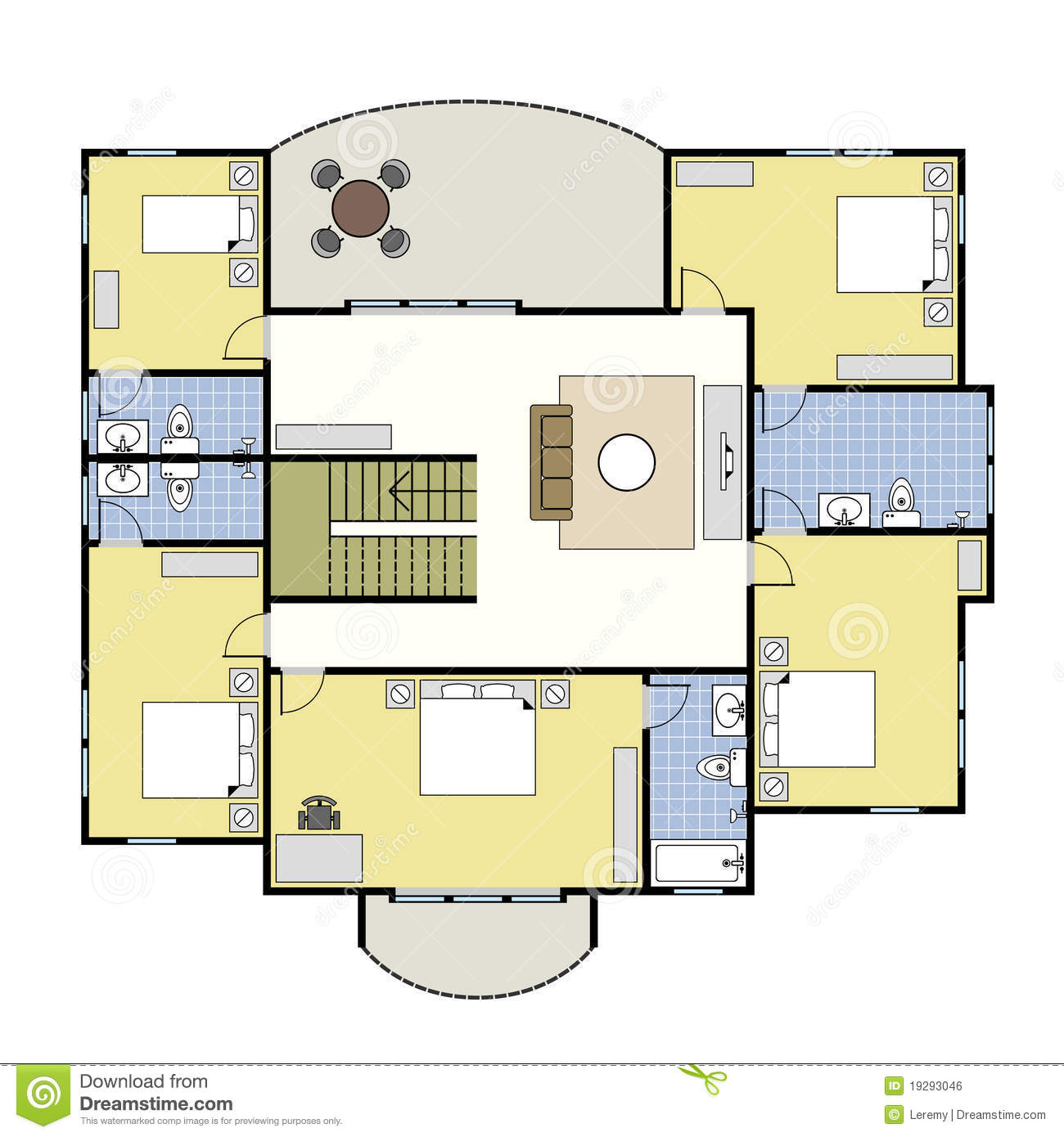 Floorplan Architektur Plan Haus Lizenzfreies Stockbild