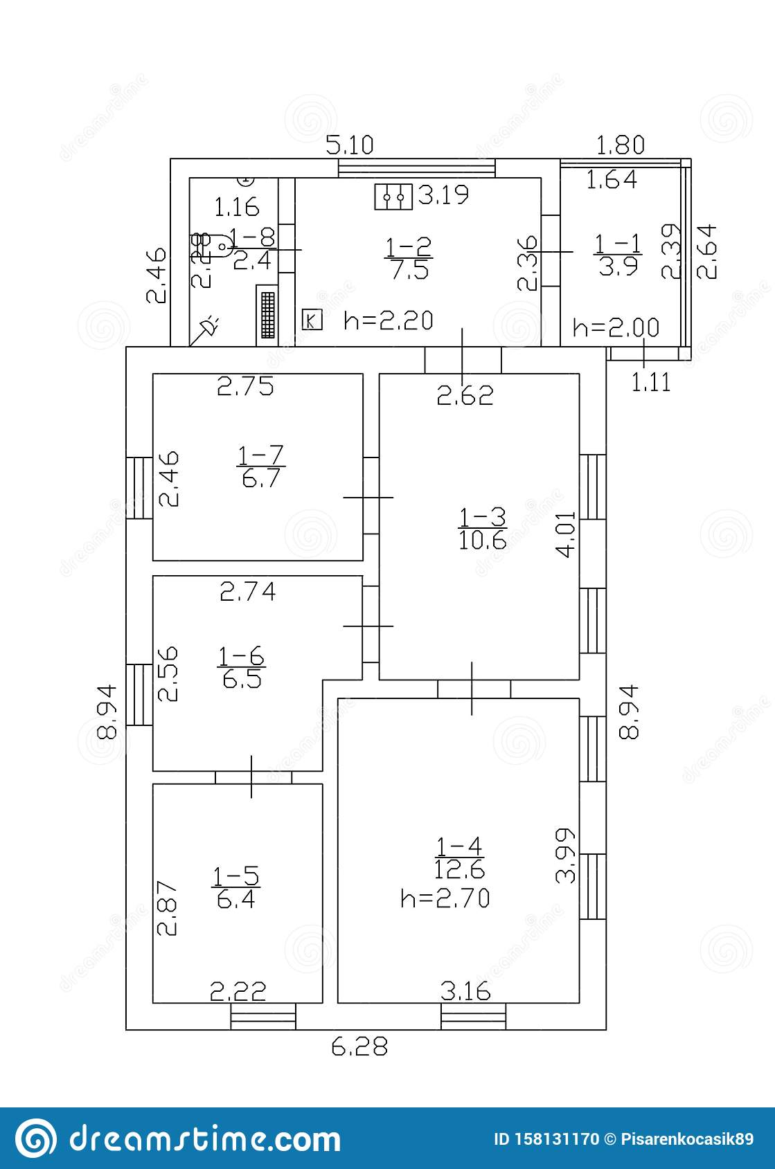 Floorplan Illustration Floor Plan Autocad Stock Illustration Illustration Of Level Architect 158131170