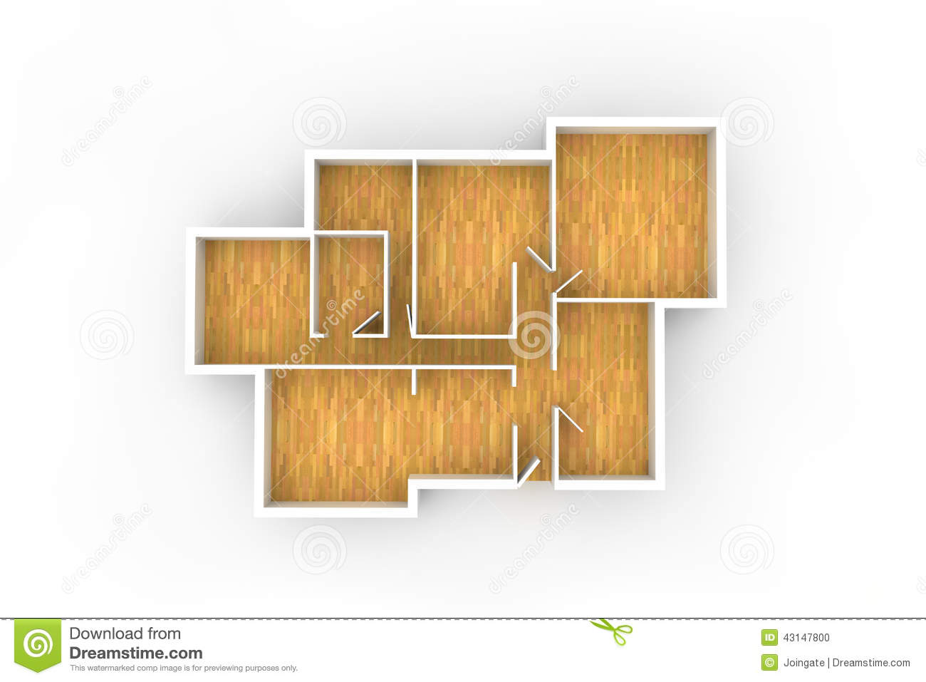 floorplan for typical house or office building with wooden floor