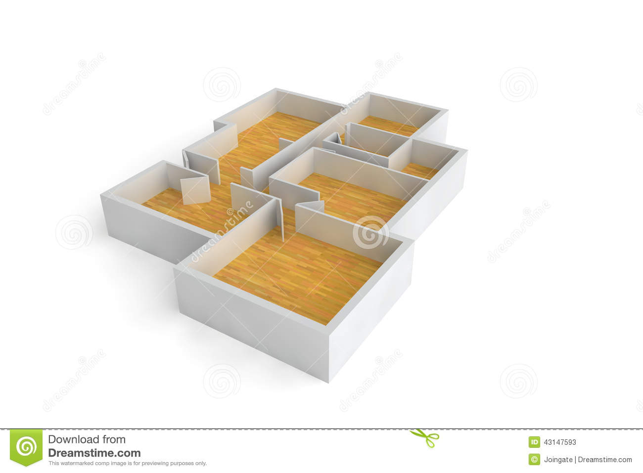 Floorplan for a typical house or office building wooden for Builder floor