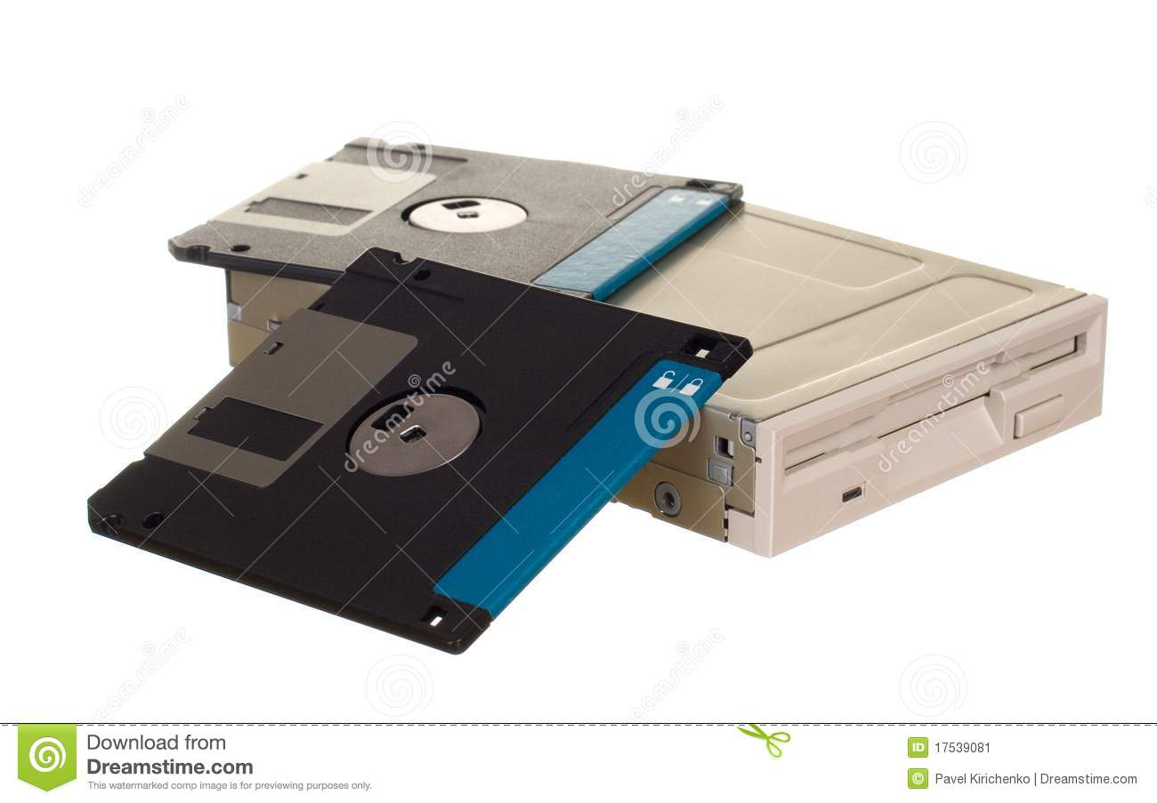 Floppy Disk Drive With Diskettes Stock Image - Image: 17539081