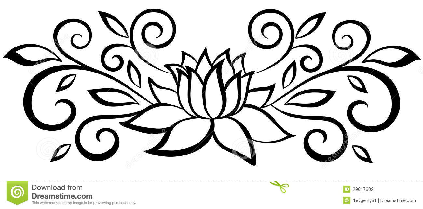 Flor Abstracta Blanco Y Negro Hermosa. Con Las Hojas Y Los