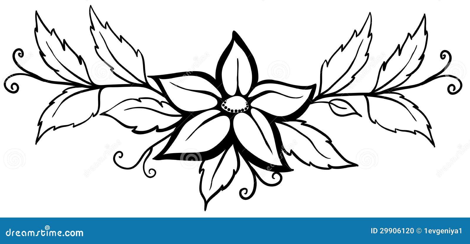 Flor Abstracta Blanco Y Negro Con Las Hojas Y Los Flourishes