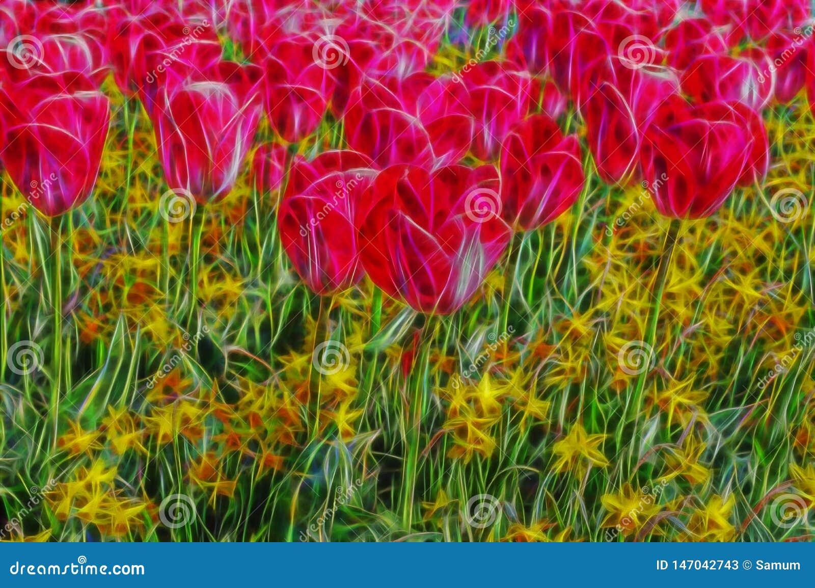 Flor abstrata bonita da cor do fractal