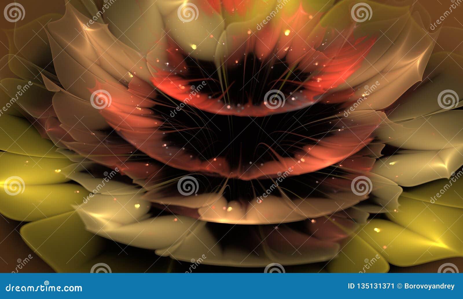 Flor abstrata bonita do fractal com detalhes brilhantes nas pétalas
