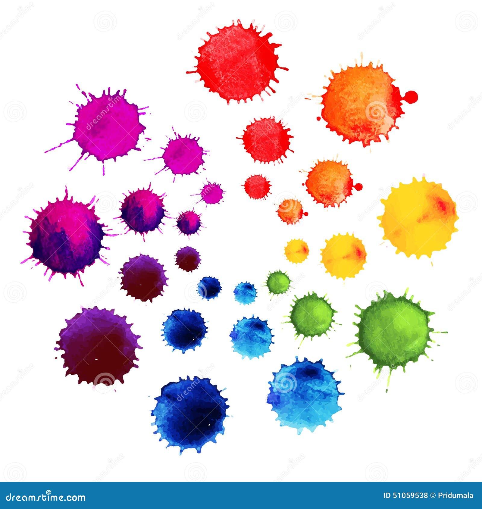 Flor abstrata feita de gotas da aquarela Splats abstratos coloridos da pintura da tinta do vetor Roda de cor