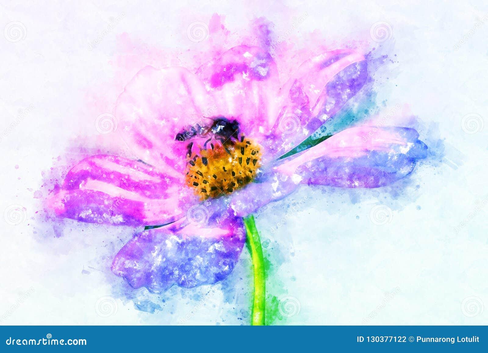 Flor abstrata que floresce no fundo colorido da pintura da aquarela