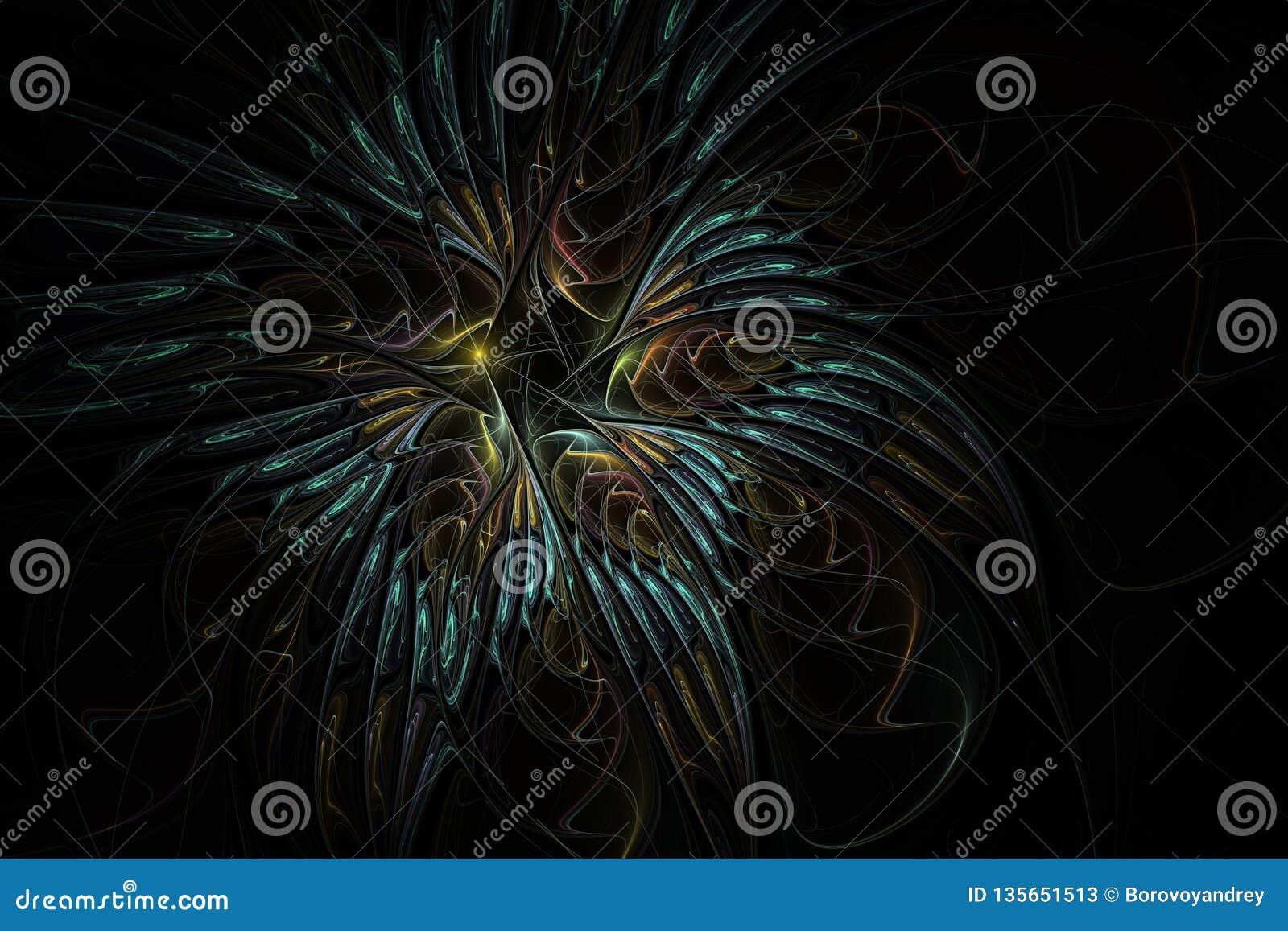 Flor bonita do fractal Teste padrão floral delicado e macio no fundo escuro