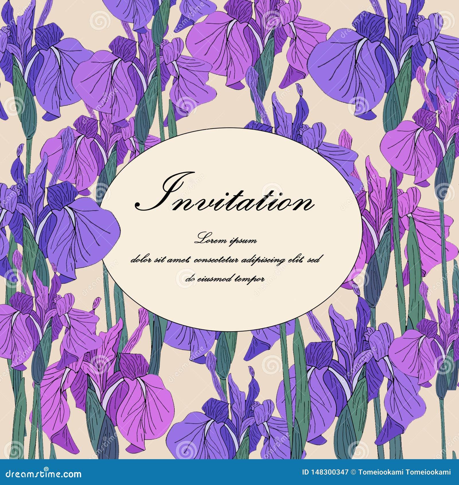 Flor bot?nica floral del iris del vector Casarse la frontera decorativa floral de la tarjeta del fondo