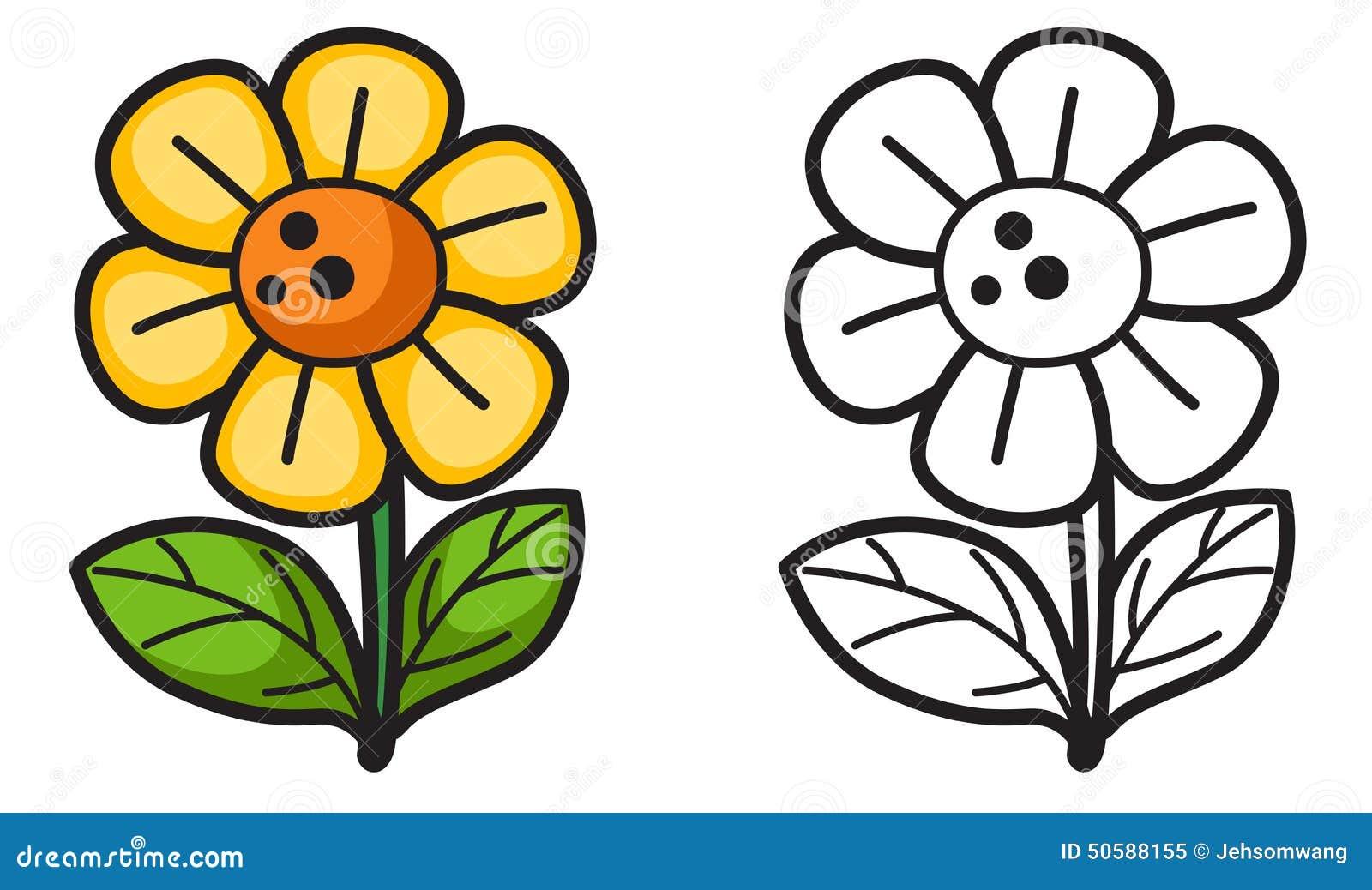 Flor Colorida E Preto E Branco Para O Livro Para Colorir ...