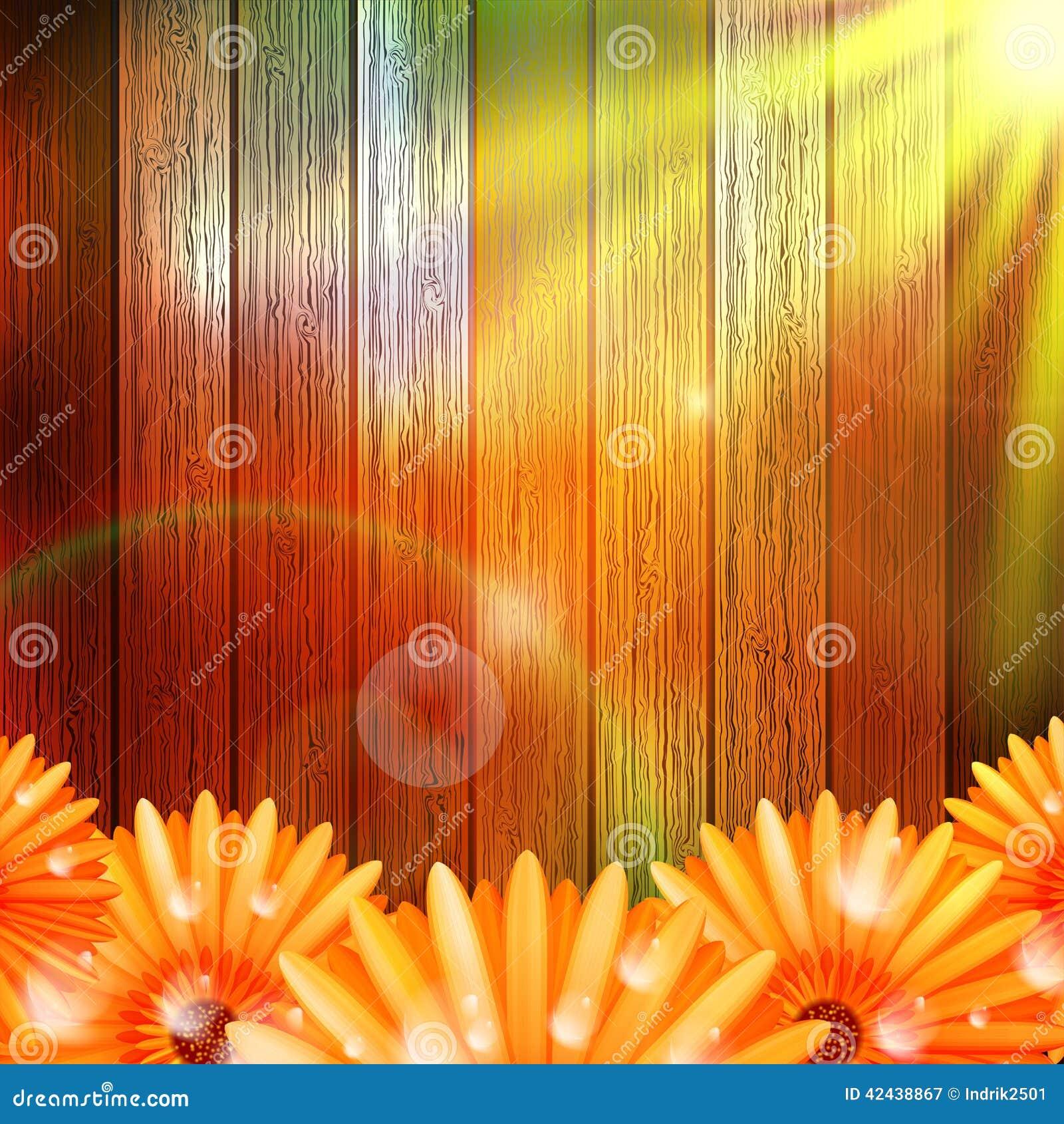Flor con rocío en la madera EPS10 más