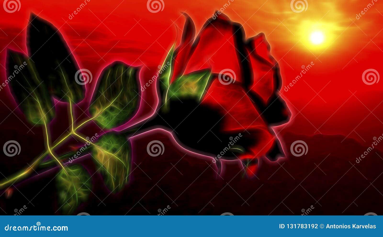 Flor cor-de-rosa vermelha no céu dramático, romântico do por do sol Ilustração apropriada para o dia de Valentim