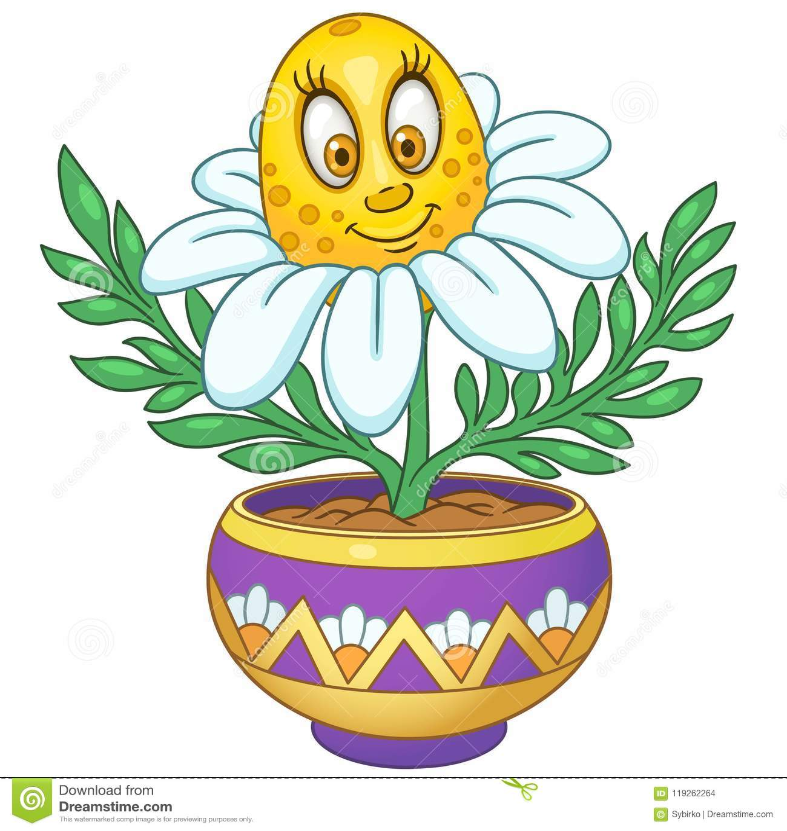 Flor Da Margarida Branca Dos Desenhos Animados Ilustracao Do Vetor