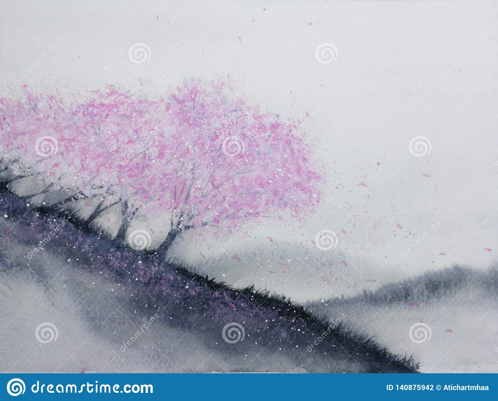 Flor de cerejeira das árvores do rosa da paisagem da aquarela ou folha de sakura que cai ao vento no monte da montanha com campo