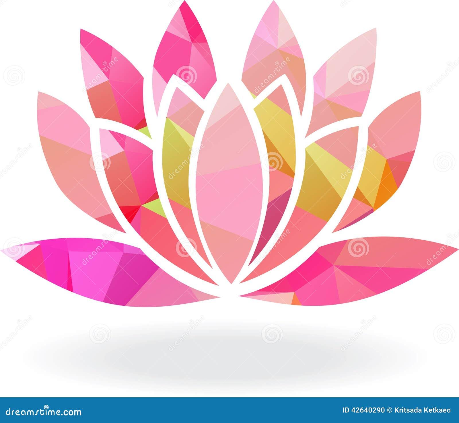 Flor de lótus geométrica abstrata em cores múltiplas
