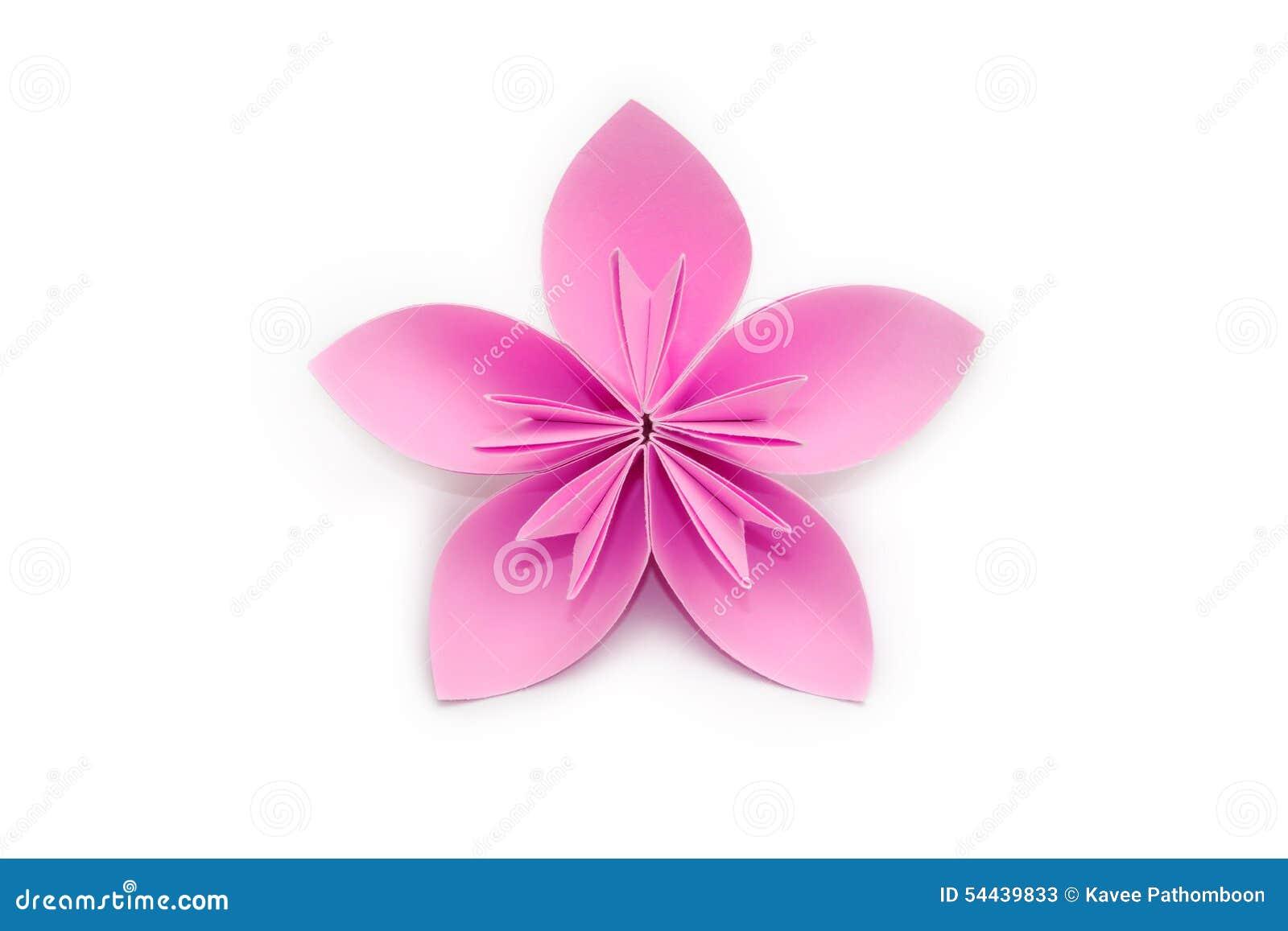 flor de papel rosada de la papiroflexia en el fondo blanco foto de archivo imagen 54439833. Black Bedroom Furniture Sets. Home Design Ideas
