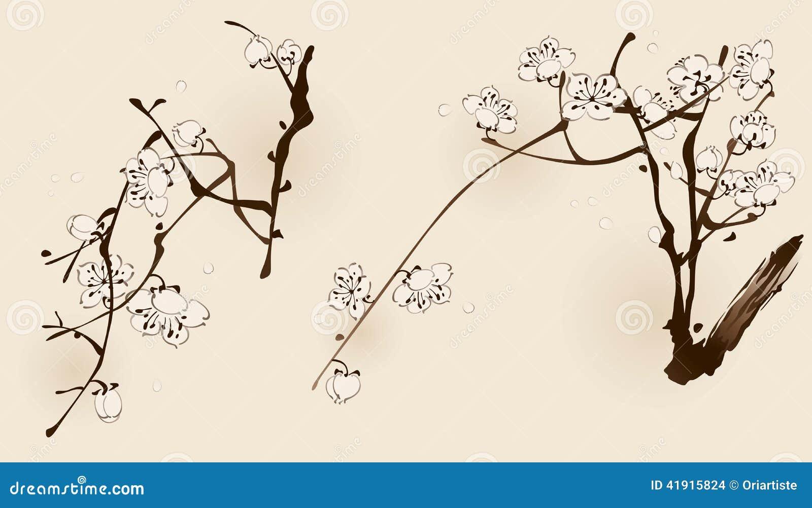 Flor del ciruelo con la línea diseño