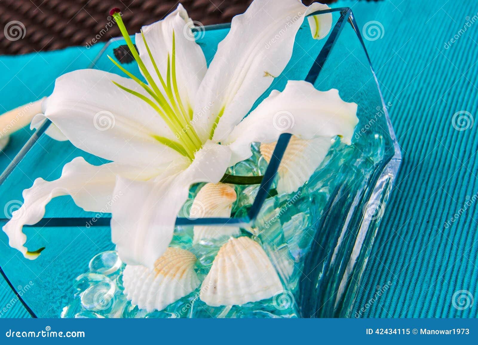 Flor del lirio en wase cuadrado