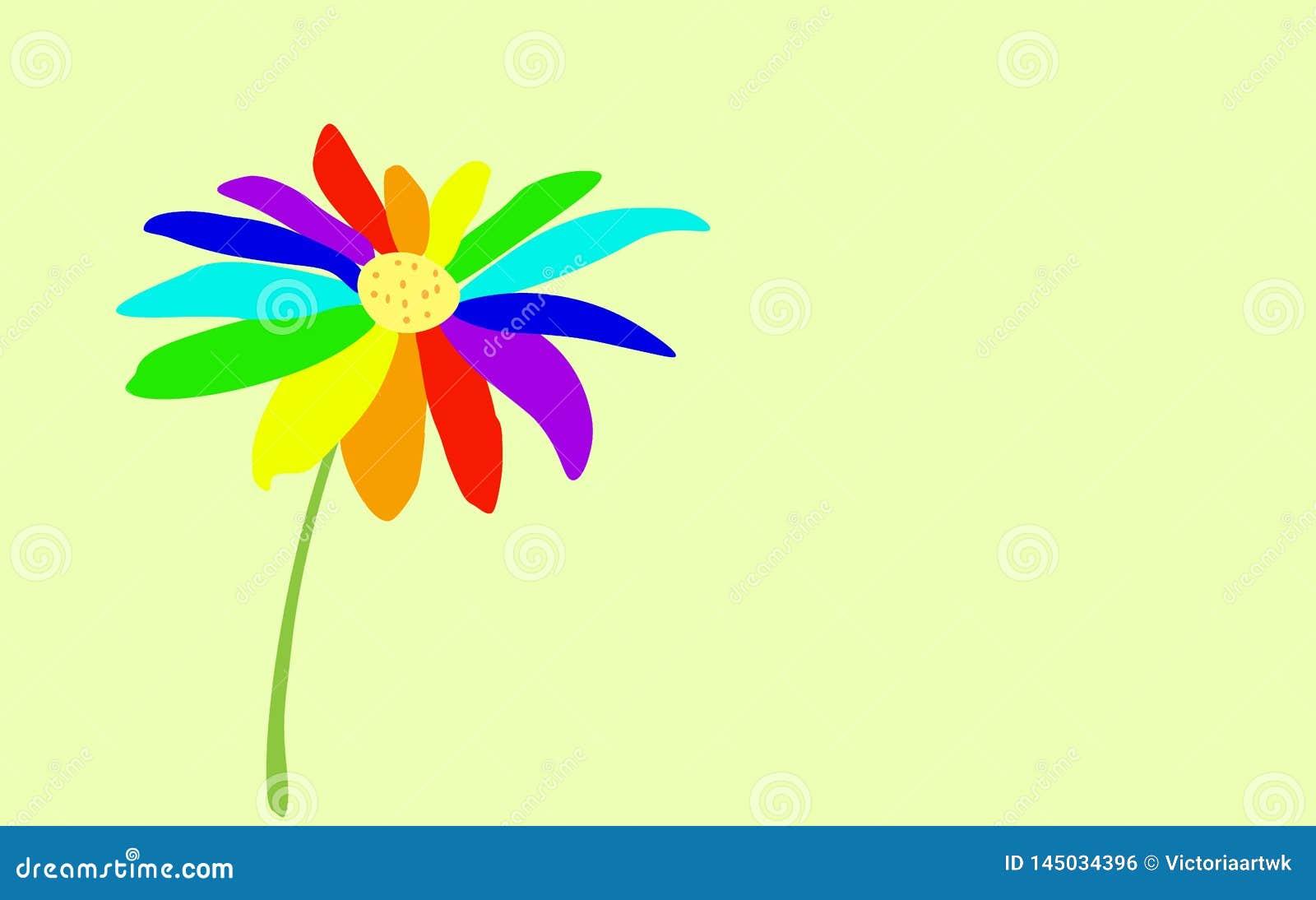 Flor del Siete-color pintada en un fondo suavemente azul claro S?mbolo de LGBT