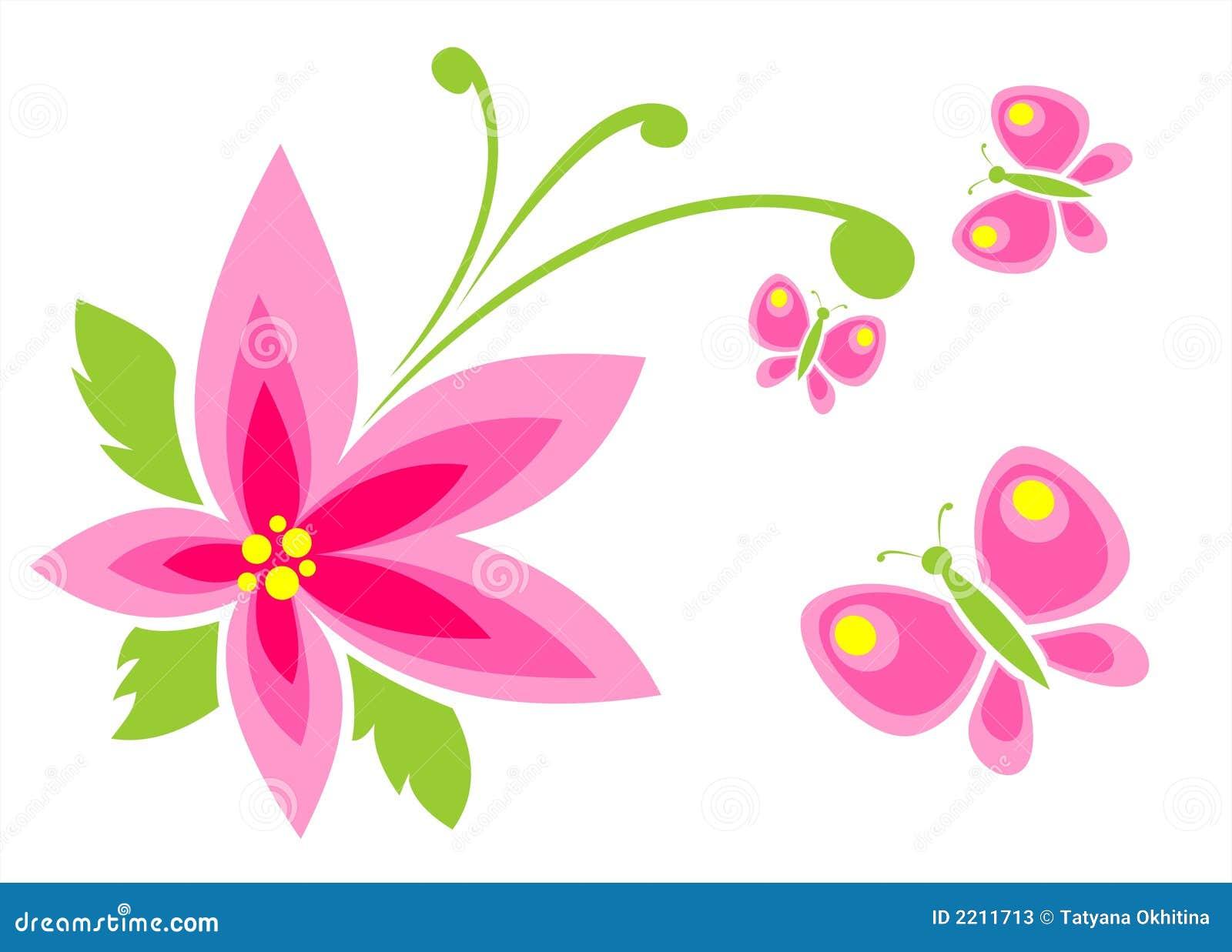 flor e borboleta cor de rosa ilustração do vetor ilustração de