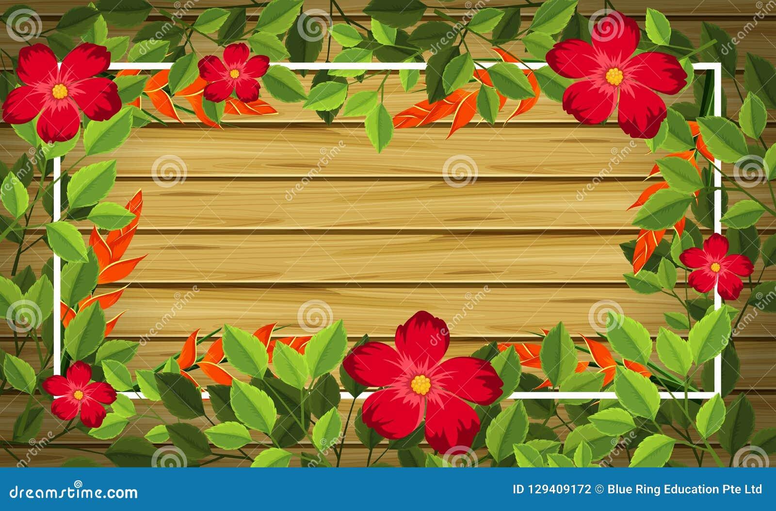 Flor en fondo de madera