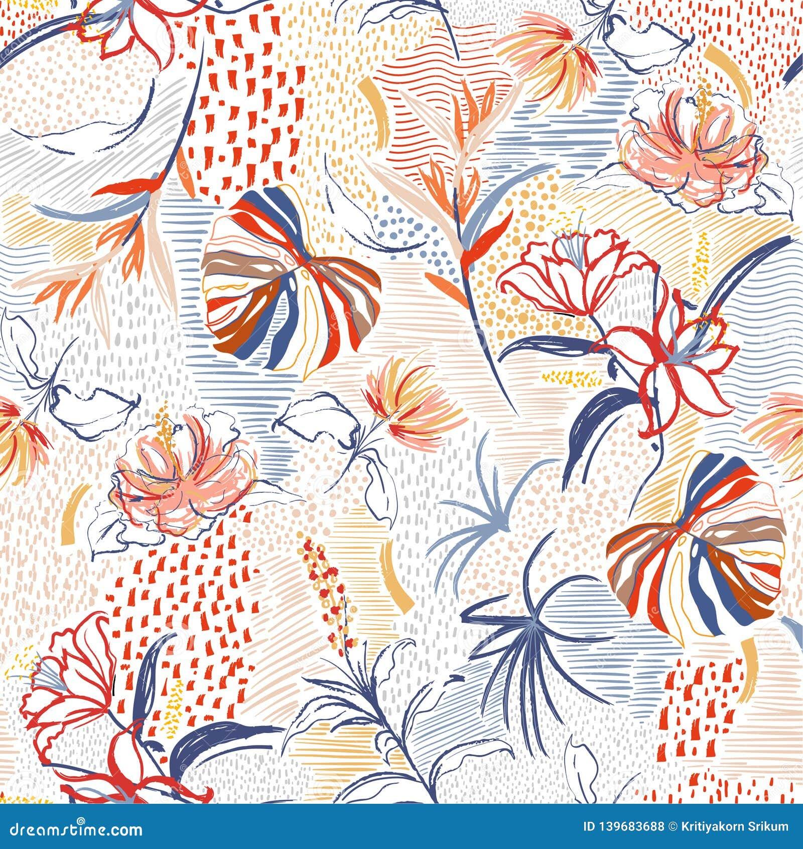 Flor exhausta de la mano colorida, bosque tropical de la palma, y floración floral en la línea modelo inconsútil del humor del bo