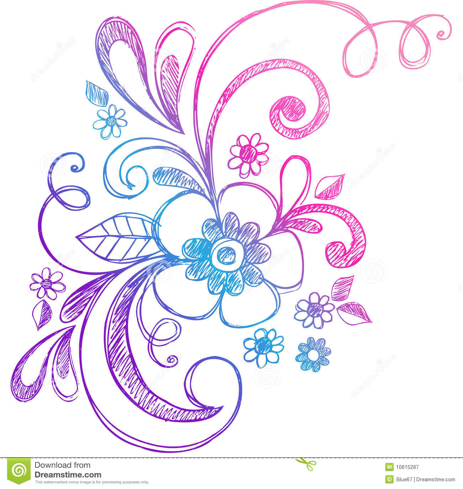 Flor incompleta del Doodle y vector de los remolinos