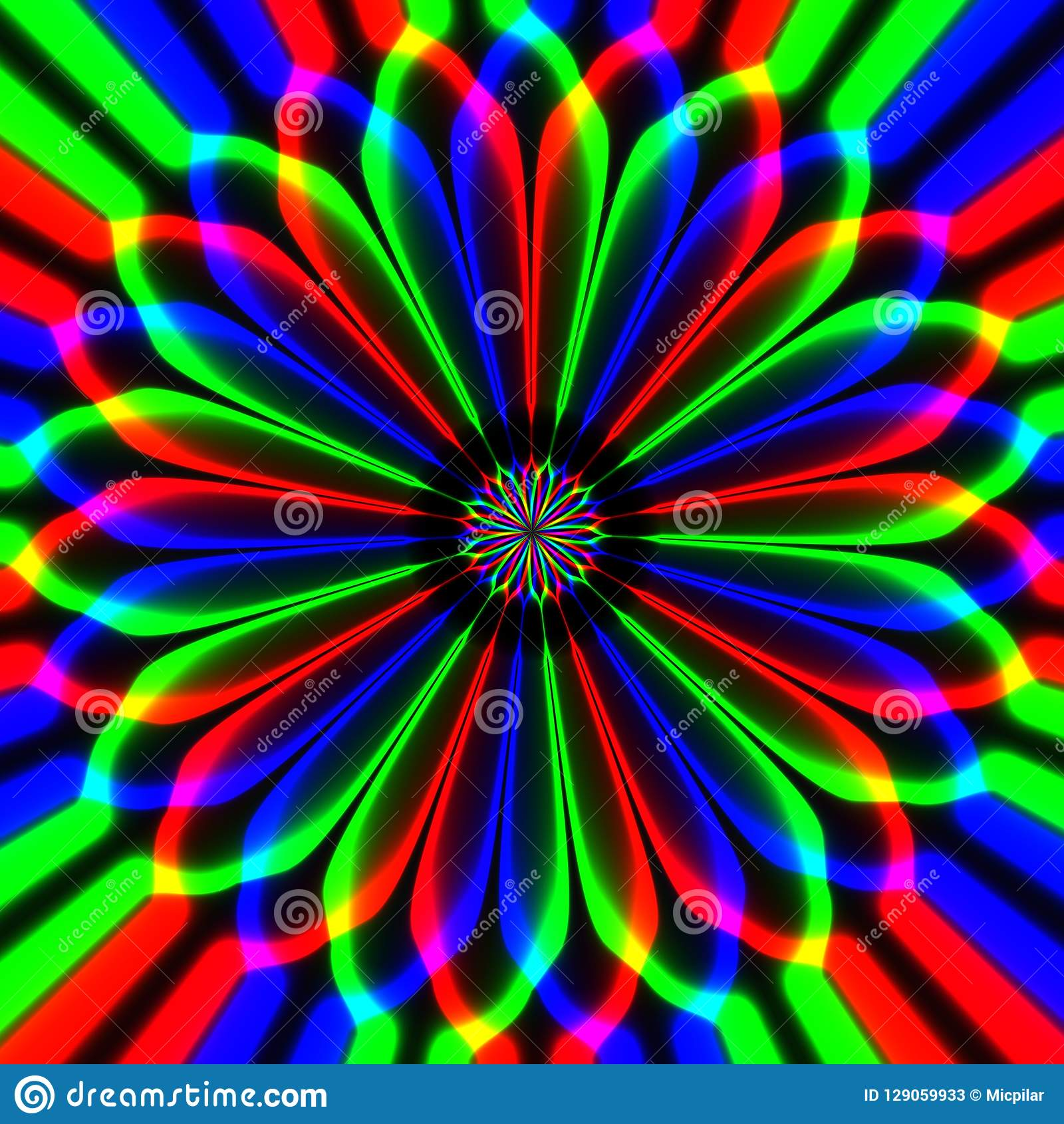 Flor multicolorido hipnótica abstrata demente no fundo preto